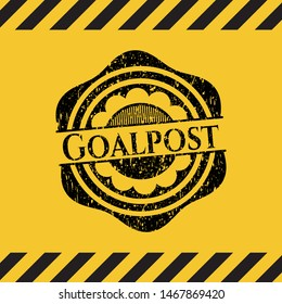 Goalpost black grunge emblem with yellow background. Vector Illustration. Detailed.