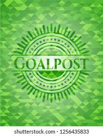 Goalpost realistic green emblem. Mosaic background