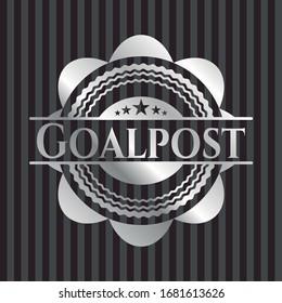Goalpost silver shiny badge. Vector Illustration. Mosaic.