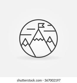 Goals achievement icon - vector flag on mountain outline symbol. Business or success logo element