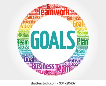 Goals circle stamp word cloud, business concept