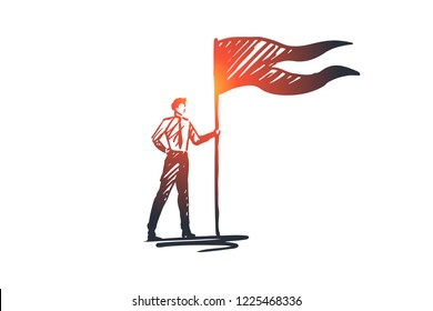 Goals, flag, winner, success, leader concept. Hand drawn successful businessman with winners flag concept sketch. Isolated vector illustration.