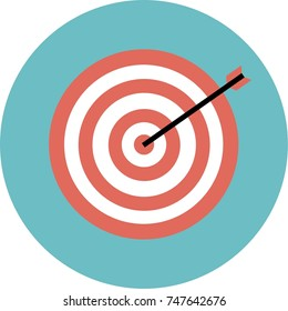 Goals icon, dartboard sign, with arrow symbol and hit center