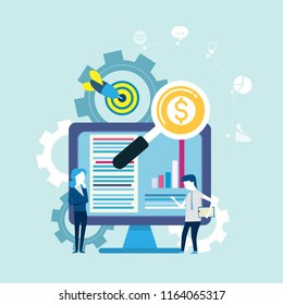 Goals and searching for finance with partners business people on internet,icon Vector illustration