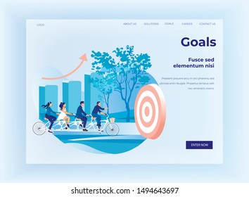 Goals Setting for Business Team Flat Landing Page. Cartoon Businessmen and Businesswomen Characters Riding Tandem Bicycles Towards Target. Team Building and Teamwork. Vector Illustration