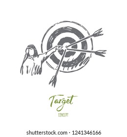 Goals, target, hitting, muslim, attainment concept. Hand drawn arab person and target with arrows concept sketch. Isolated vector illustration.