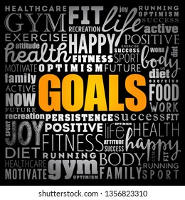 GOALS word cloud collage, fitness, sport, health concept
