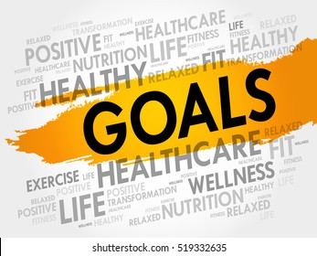 GOALS word cloud collage, health concept background