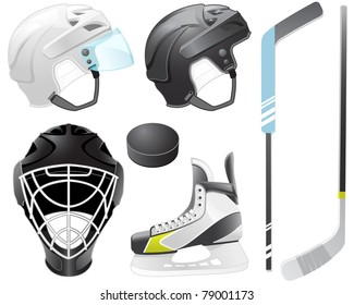 Goaltender helmet, hockey sticks, skate and puck