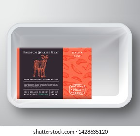 Goat Abstract Vector Plastic Tray Container Cover. Premium Quality Meat Packaging Design Label Layout. Hand Drawn Goat, Steak, Sausage, Wings and Legs Sketch Pattern Background. Isolated.