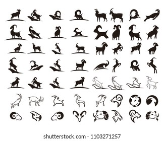 goat animal farm icon vector illustration design silhouette