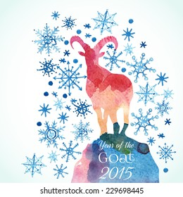 GOAT background. A watercolor hand drawn goat silhouette with snowflakes. Chinese astrological sign. New Year 2015. Vector illustration.