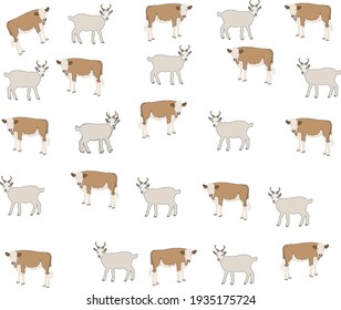 goat and cow on the same pattern