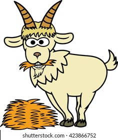 Goat Eating Hay Cartoon Illustration