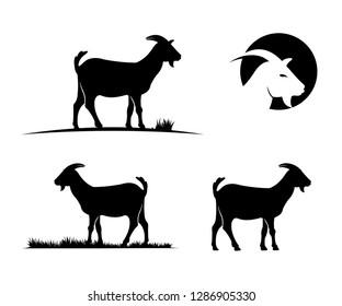 goat farm field vector icon logo design simple flat style template