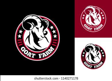 Goat Farm Logo Template Design Vector, Emblem, Design Concept, Creative Symbol, Icon