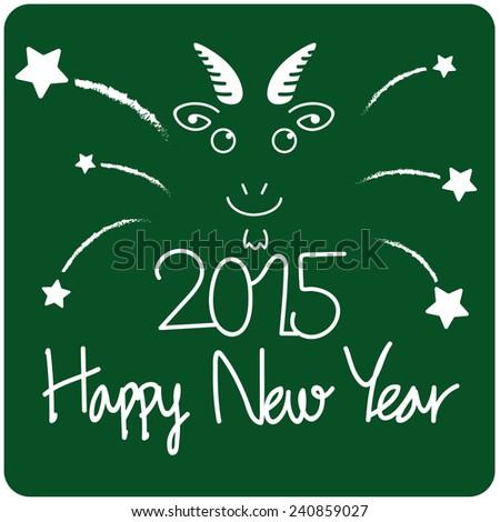 goat happy new year blackboard