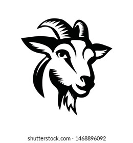 goat head, front view drawing art logo design inspiration