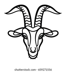Goat head line icon, outline vector sign, linear pictogram - symbol, logo illustration