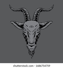 goat heads, hand drawn illustration style with third eye