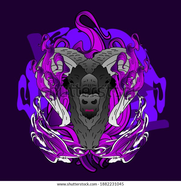 goat, illustration design for sukajan is mean japan traditional cloth or t-shirt with digital hand drawn Embroidery Men T-shirts Summer Casual Short Sleeve Hip Hop T Shirt Streetwear