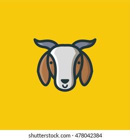 Goat Line Color Icon Logo