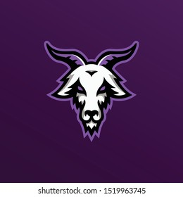 goat mascot logo illustration. goat esport gaming logo.