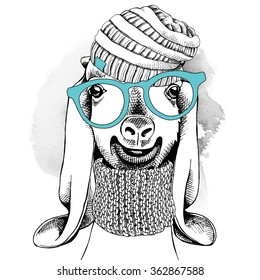 Goat portrait in a glasses with knitted hat and scarf. Vector illustration.