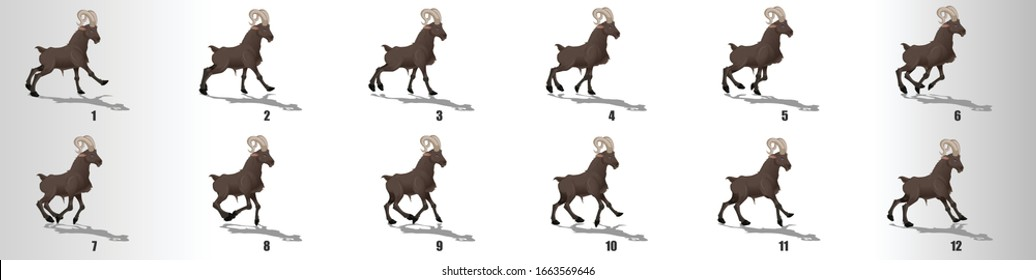 Goat run cycle animation frames, loop animation sequence sprite sheet