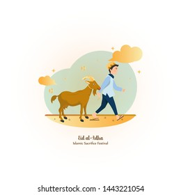 Goat for Sacfrifice, Happy Eid al-Adha Illustration for greeting or digital post