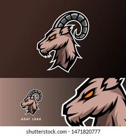 goat sheeep mascot sport esport logo template black fur green horn for team, personal, club