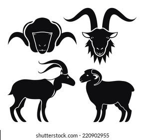Goat and sheep icons with black vector silhouettes of the head and full body side profile of a goat and sheep both with long horns