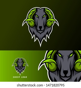 goat sheep mascot sport esport logo template black fur green horn for team, personal, club