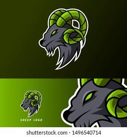 Goat sheep mascot sport esport logo template black fur green horn for team, personal, club