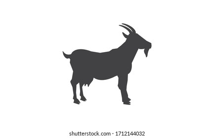 Goat Silhouette black logo vector template, a lamb standing side view black design on white background