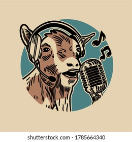 the goat singing with a headset in its ear and a microphone in front of its mouth against a blue background circle vintage illustration