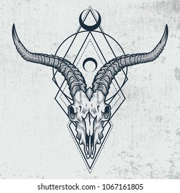 Goat skull in ink graphic technique. Vector illustration of goat skull with sacred geometry shapes on grunge background. Good for posters, t-shirt prints, tattoo design.