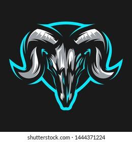 goat skull logo template vector