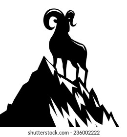 Goat standing on mountain silhouette 2015 Chinese New Year EPS 10 vector stock illustration