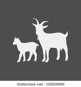 Goat vector silhouette. Farm animal silhouette. Goat and goat cub vector silhouettes