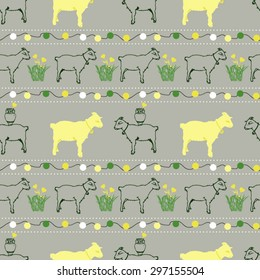 Goats on grey background seamless vector pattern