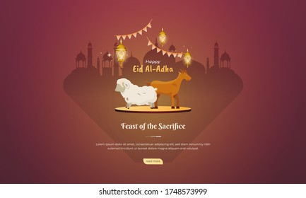 Goats and sheep for Qurban or feast of the sacrifice for Eid al Adha greeting concept