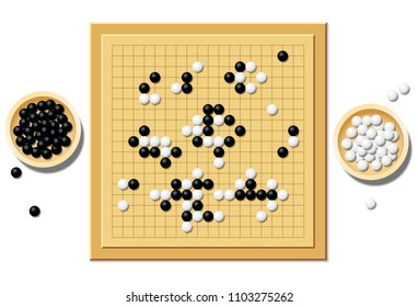 Gobang or go game board with a typical course of game, and two wooden bowls filled with black and white stones - a traditional chinese strategy game. Isolated vector illustration over white.