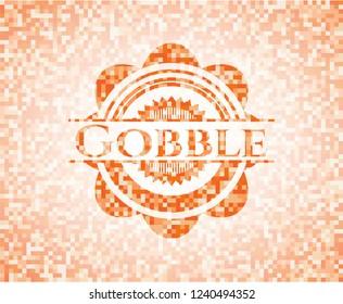Gobble abstract emblem, orange mosaic background