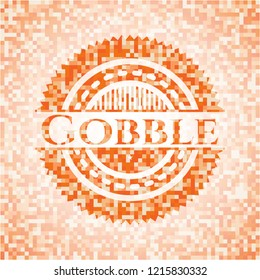 Gobble abstract orange mosaic emblem with background