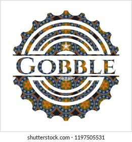 Gobble arabic emblem background. Arabesque decoration.