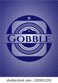 Gobble badge with denim background