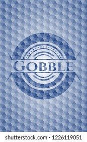 Gobble blue emblem or badge with geometric pattern background.