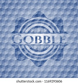 Gobble blue emblem with geometric pattern background.