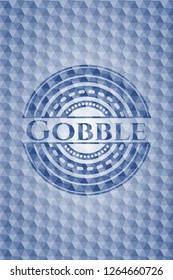 Gobble blue emblem with geometric pattern.
